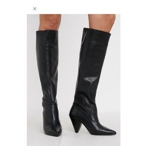 Urban outfitters black leather knee high boots 5